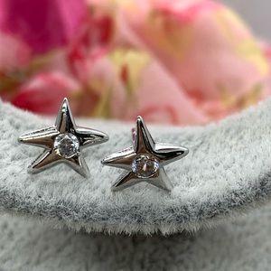 Sterling Silver 925 CZ Star Stud Earrings